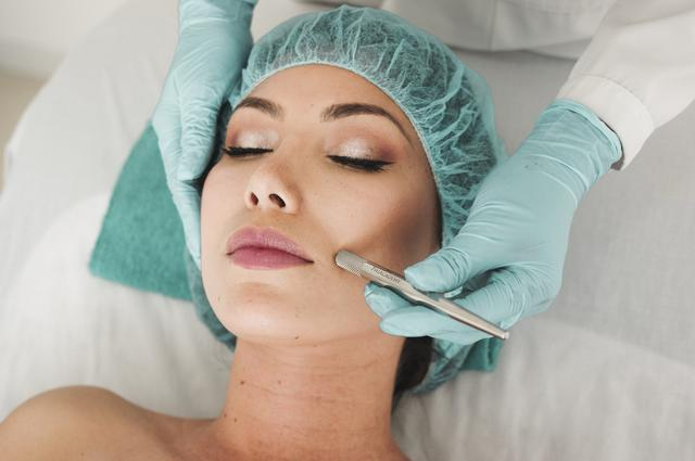 A woman undergoing a skin rejuvenation procedure