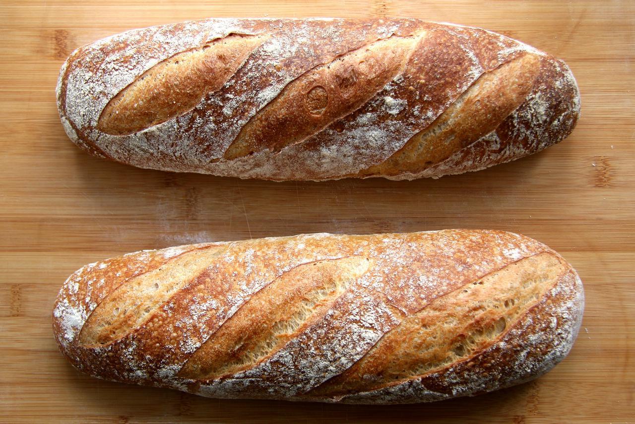 Sourdough bread loaves baking
