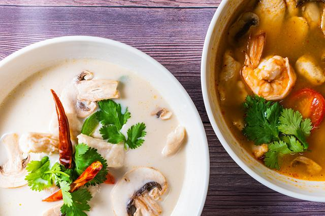 tomkha and tomyum soups at asian joint in virginia