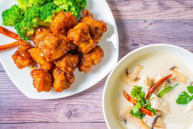 General Tso's Chicken and TomKha Soup