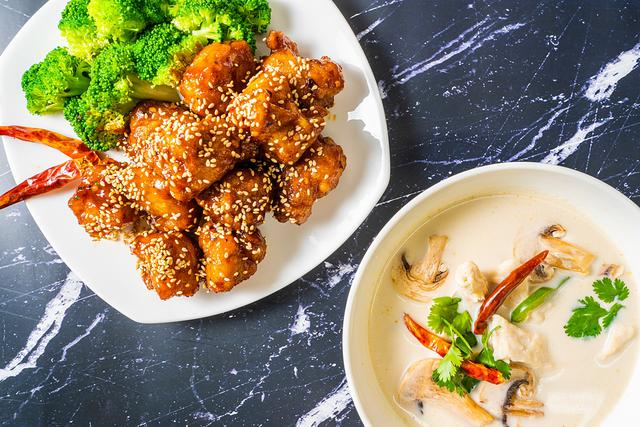 Sesame Chicken and TomKha Soup