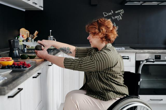 Disabled able to prepare food after installing custom cabinets in Kansas City.
