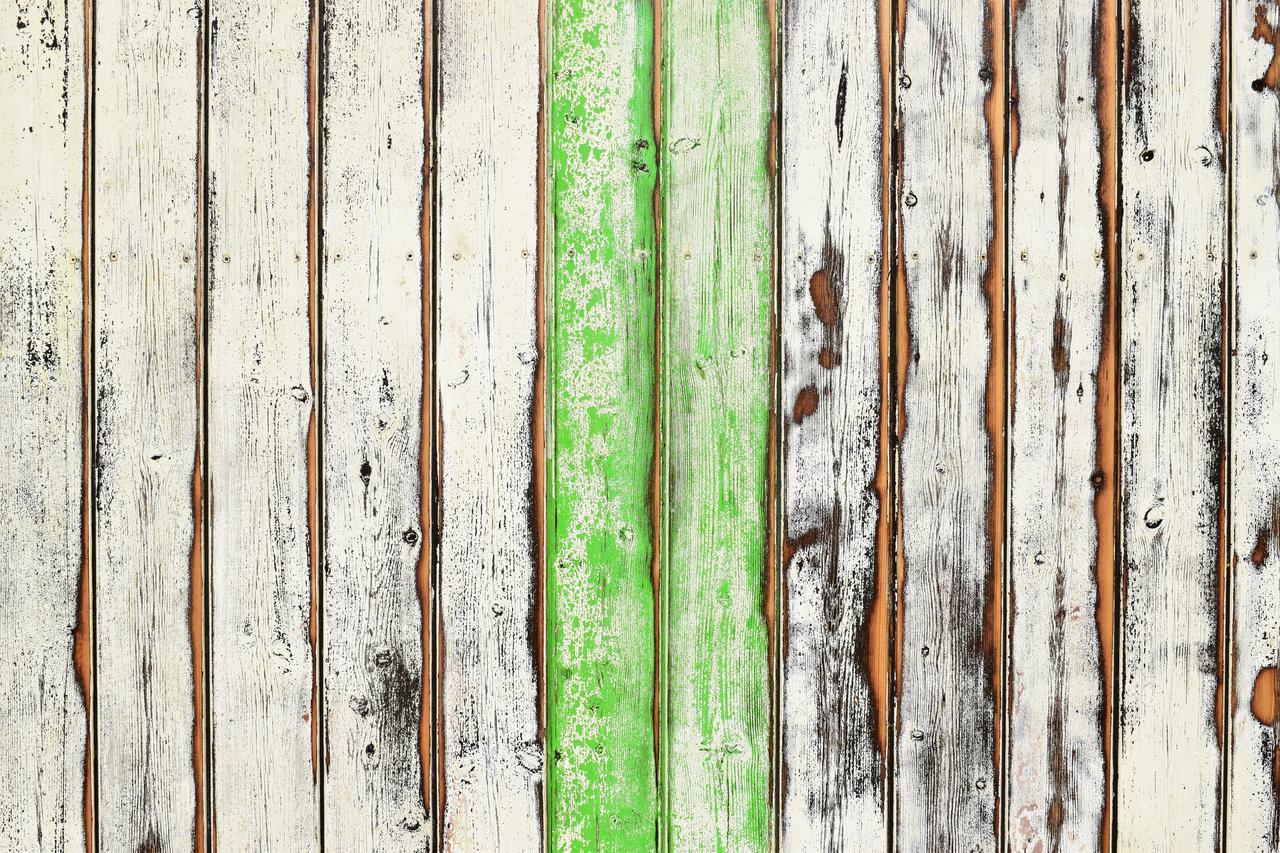 Partially green wooden deck