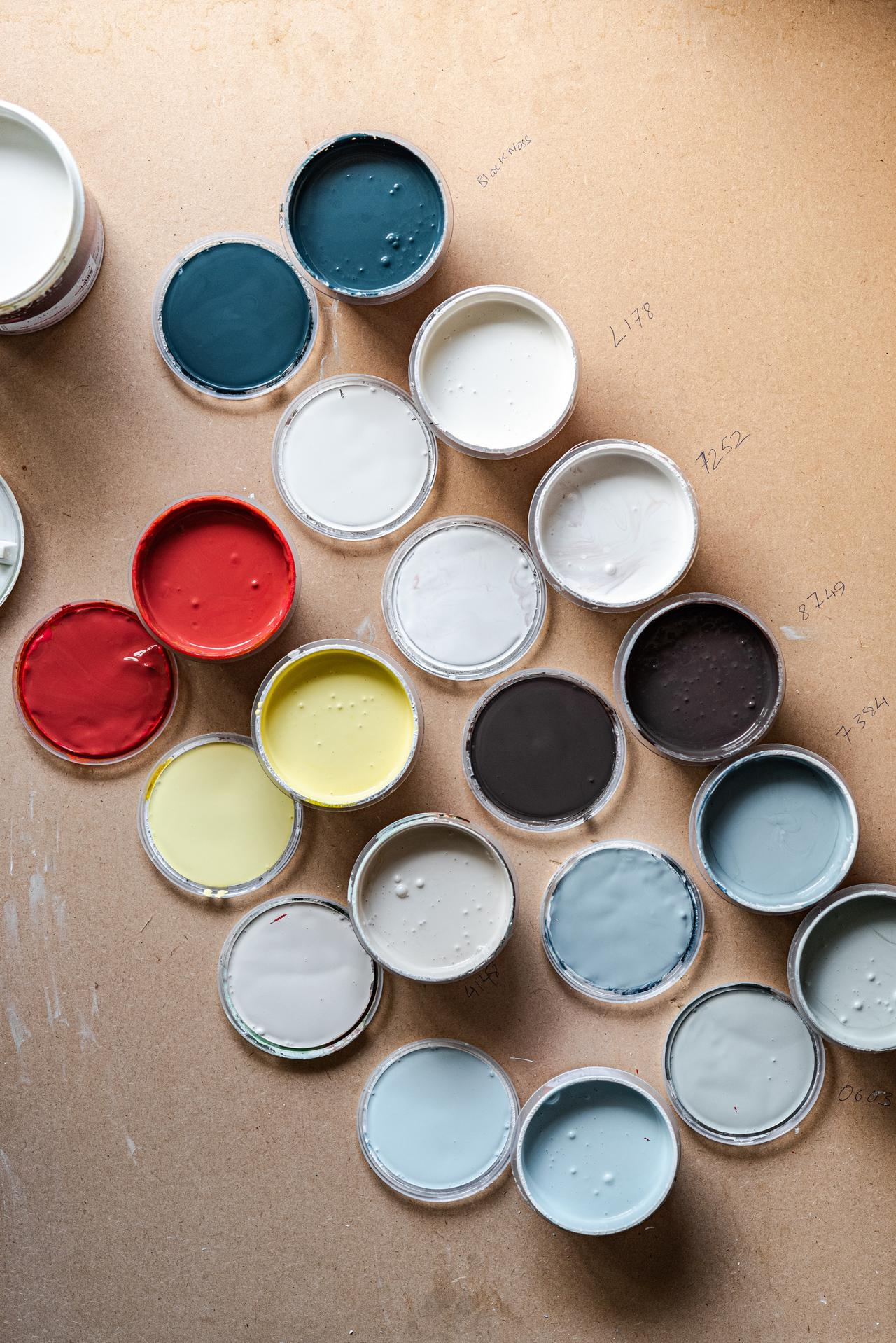 A array of different wall sample paints for testing.