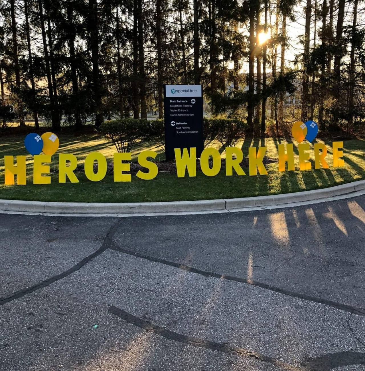 heroes work here custom yard sign decoration