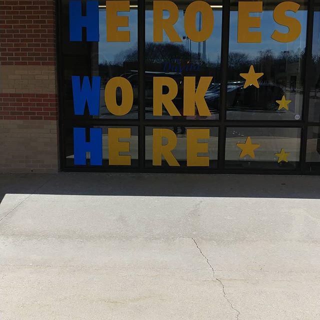 heroes work here custom window sign decoration