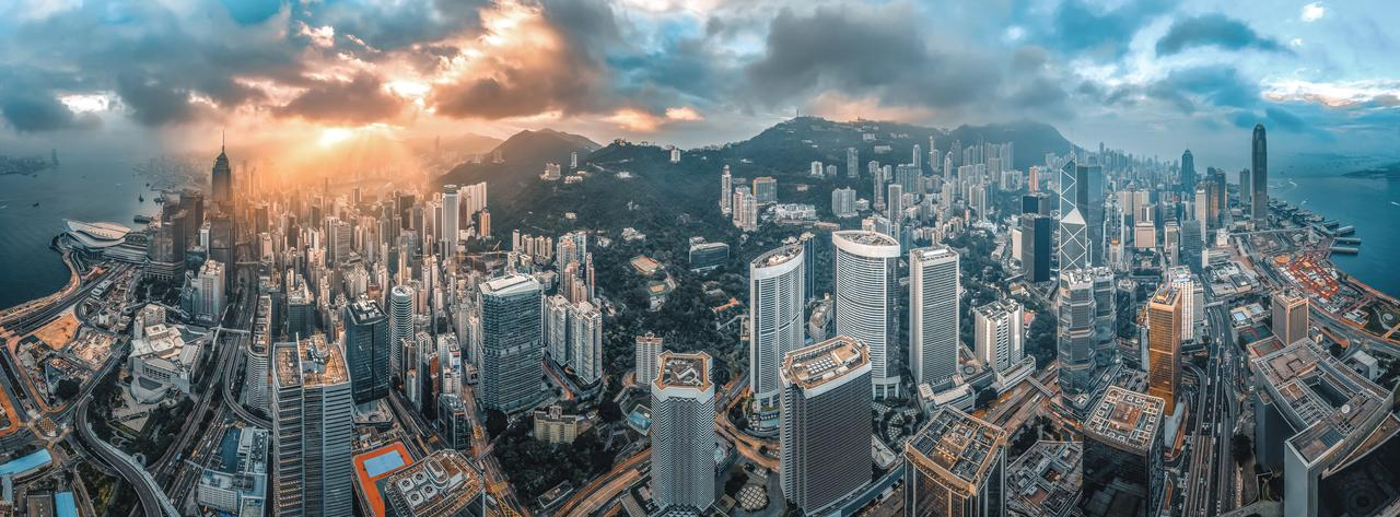 Hong Kong Island from aerial view in sunrise