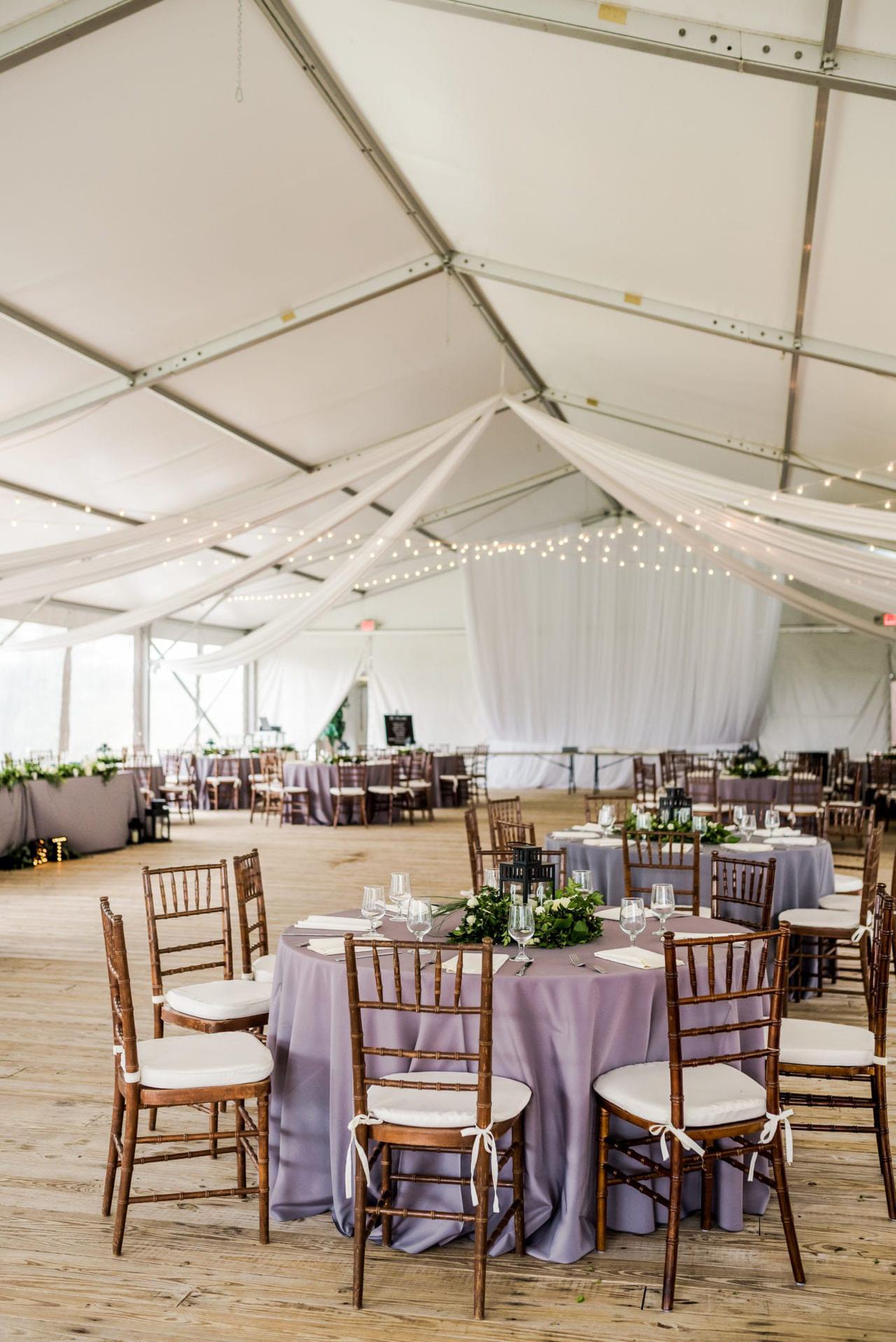 wedding tent interior at walker's overlook wedding venue in walkersville, md