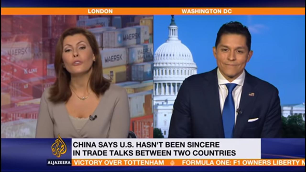"<span class=""display-font"" style=""color:inherit""> Al Jazeera 21G News Hour Interview Chris Garcia on China&#x27;s Retaliatory Tariffs</span>"