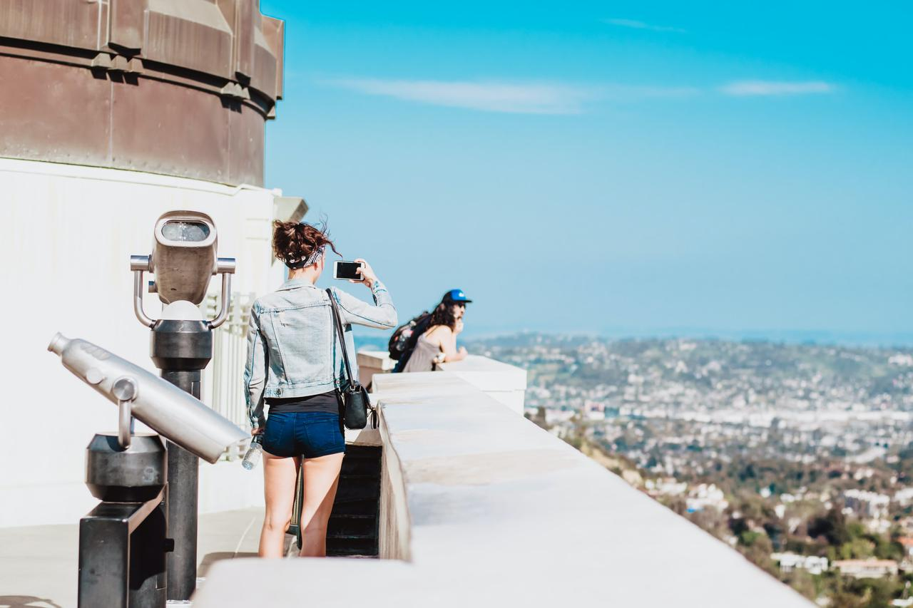 On top of Griffith Observatory where you can have a good view of Los Angeles skyline.