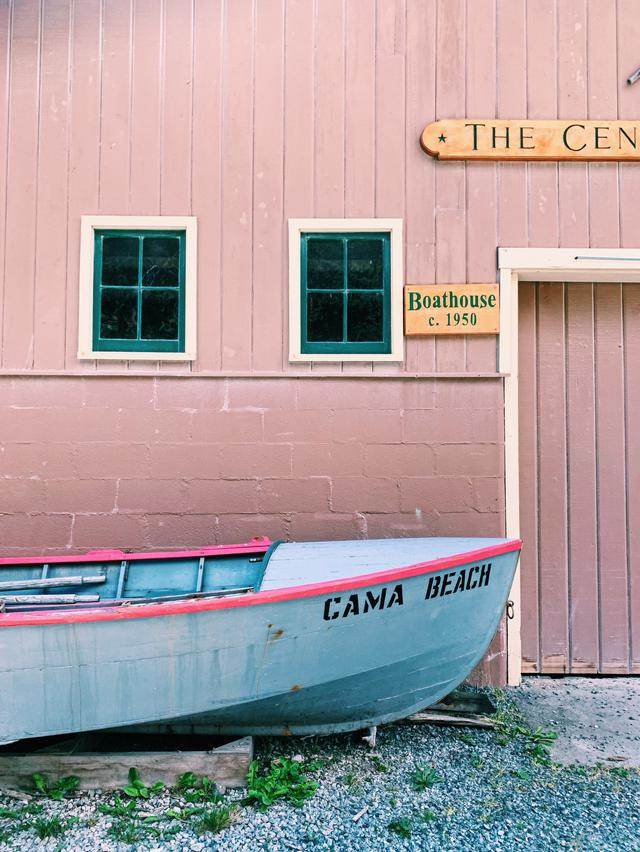 canoe at Cama Beach State Park boathouse, Washington, Pacific Northwest USA