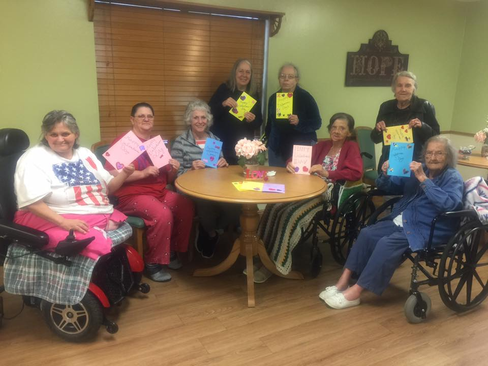 Residents were so happy to make Valentines for KVNE Radio