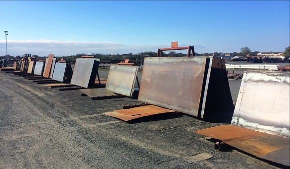 """Steel Plates and Building Construction Materials, Including 3'-8"""" C-Purlin, Base Angle, Prefabricated Trusses, 26 gauge, PBR Metal Roofing and Siding, and More"""