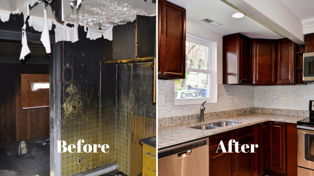 before and after images of a kiten remodel