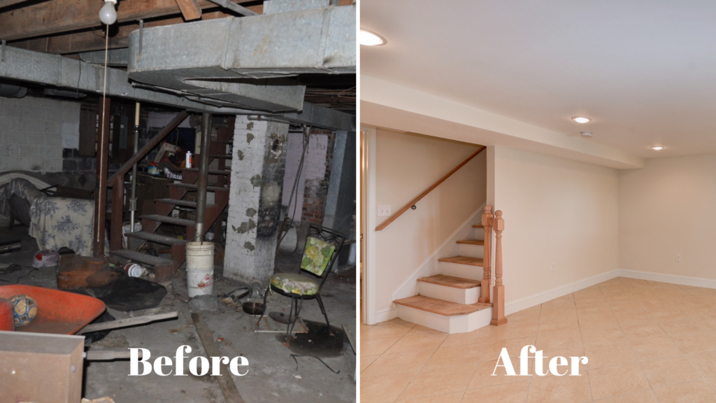 before and after images of a basement remodel