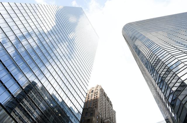 Solar panel installation on skyscraper in New York.