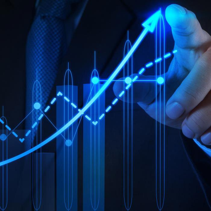 finger pointing to the top of a growth chart