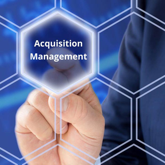 """finger pointing to the words """"acquisition management"""""""