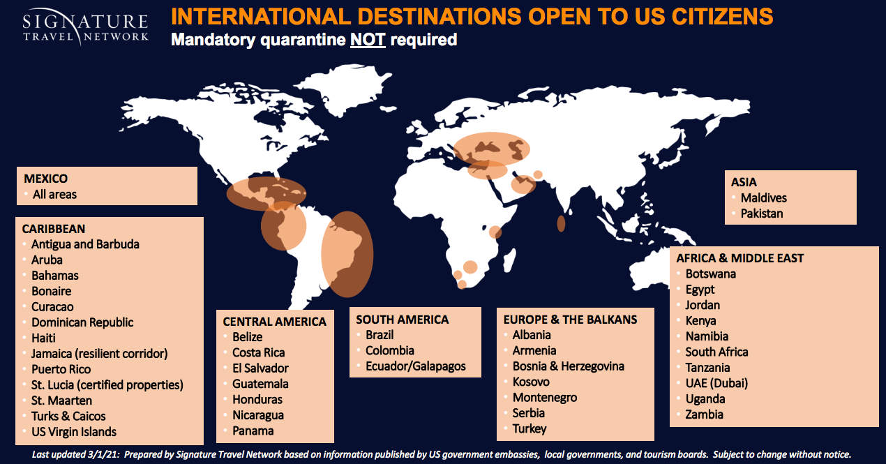 International map of countries open to American travelers