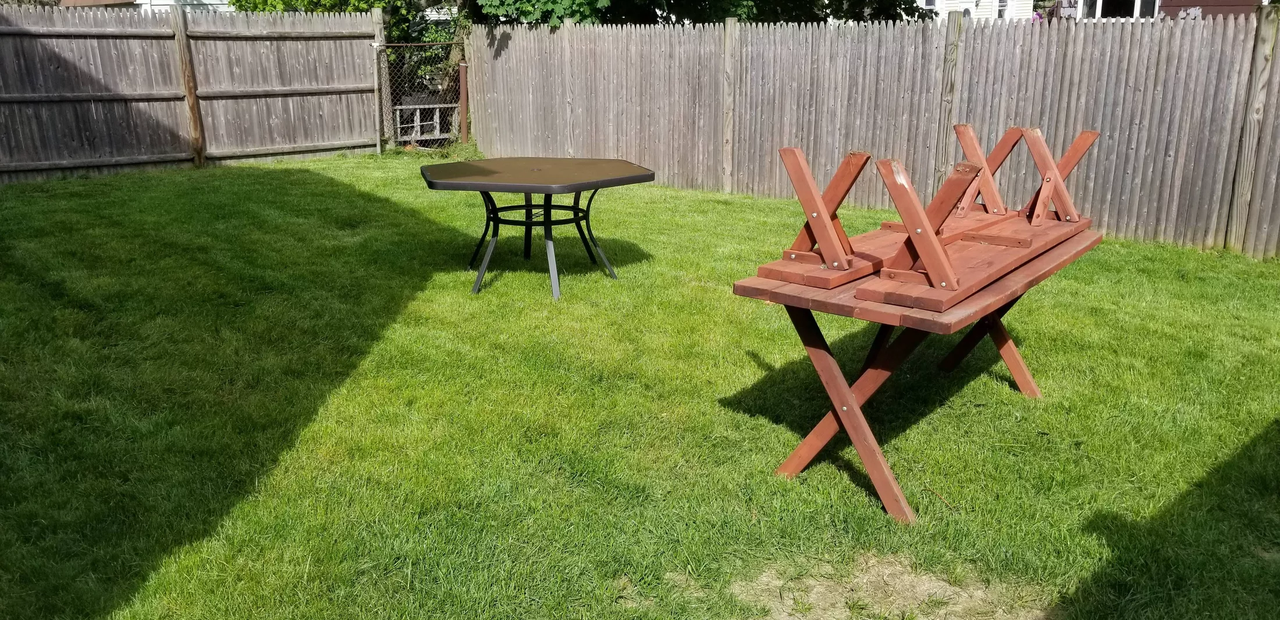 backyard with tables