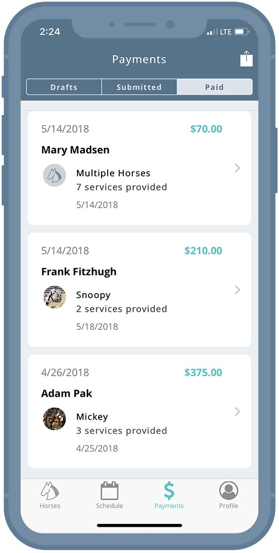 Horse Manager - Edit Payment Information
