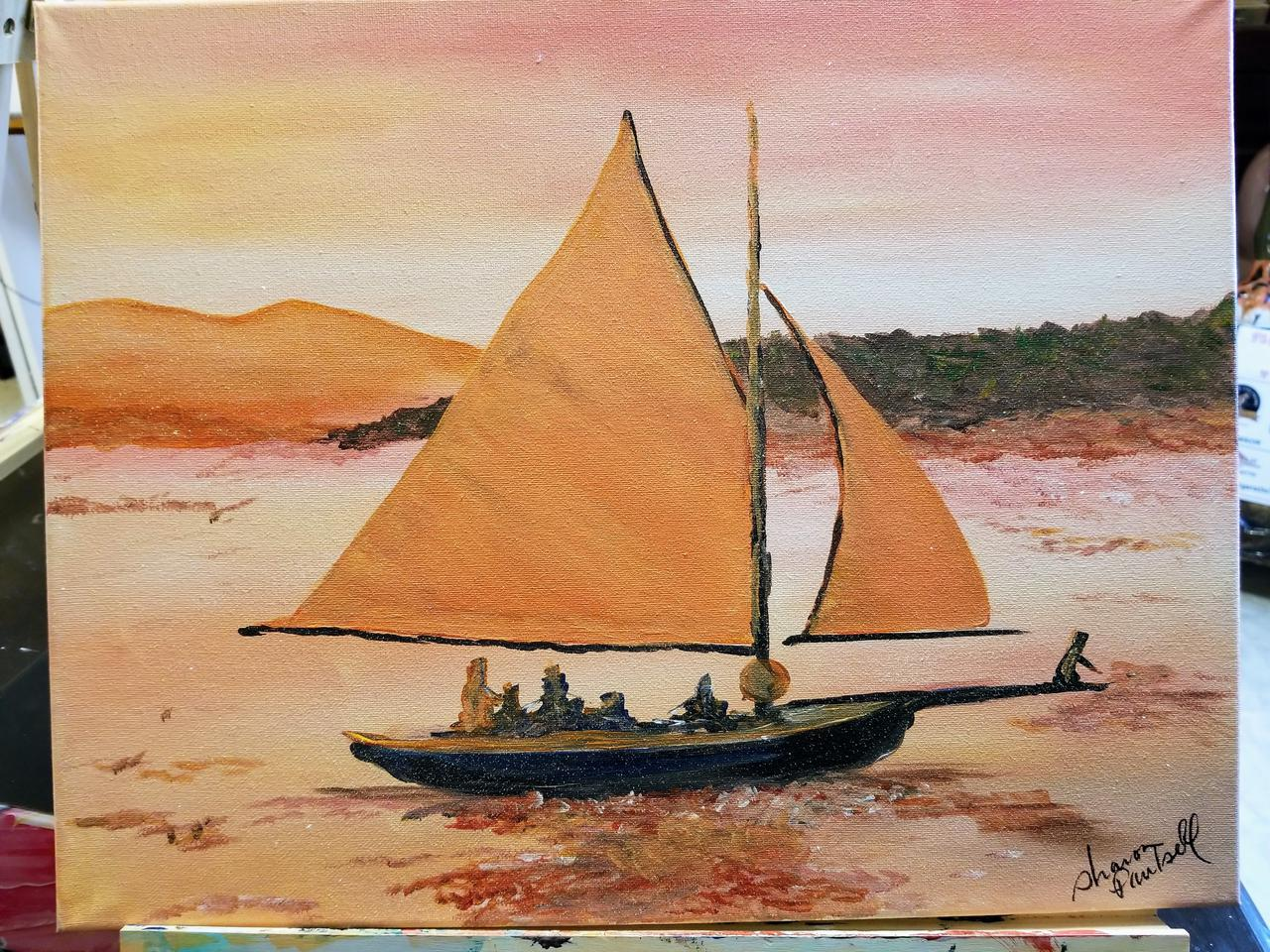 Orange sail boat painting