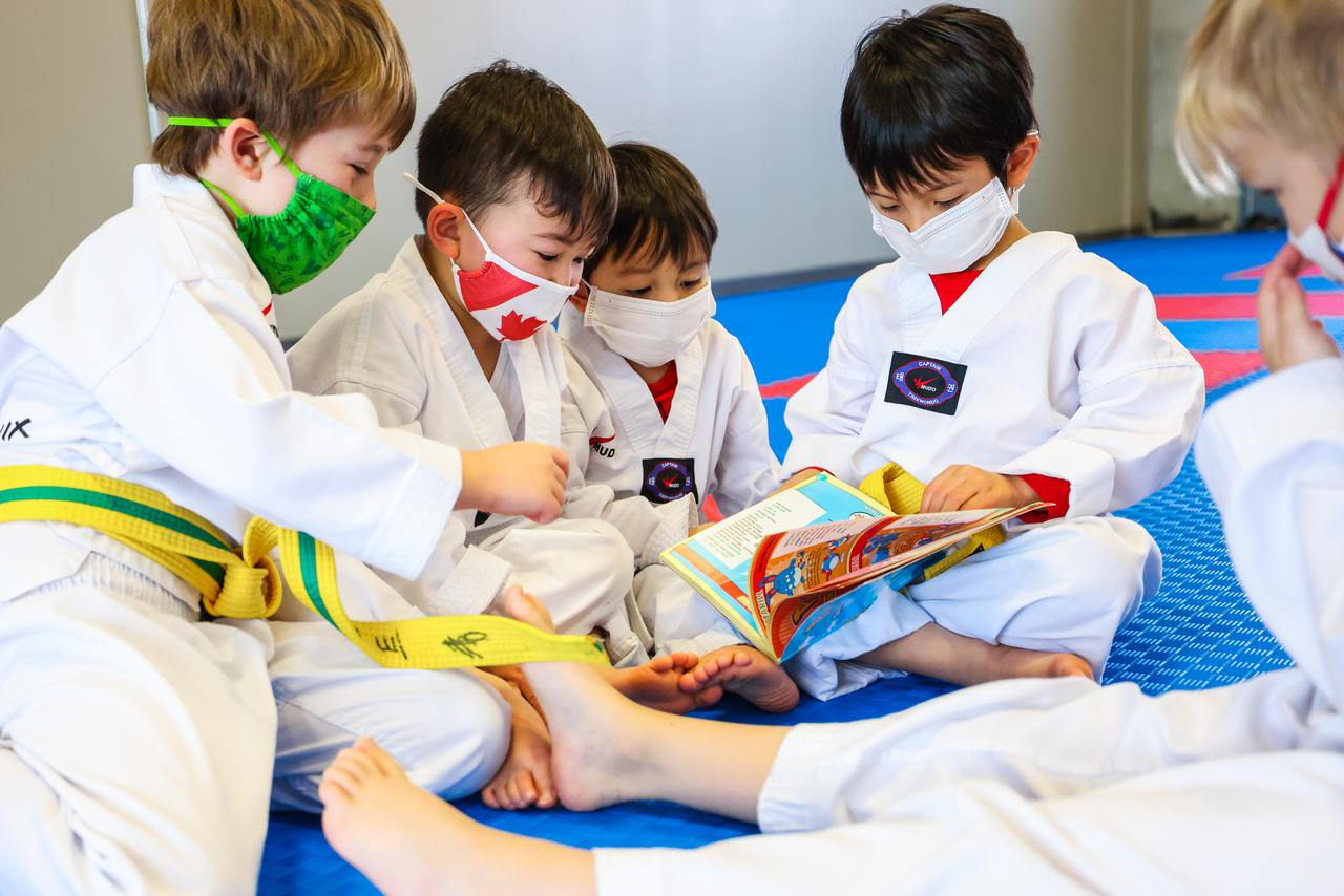 children learn Tae Kwon Do basis in the Red Phoenix preschool class
