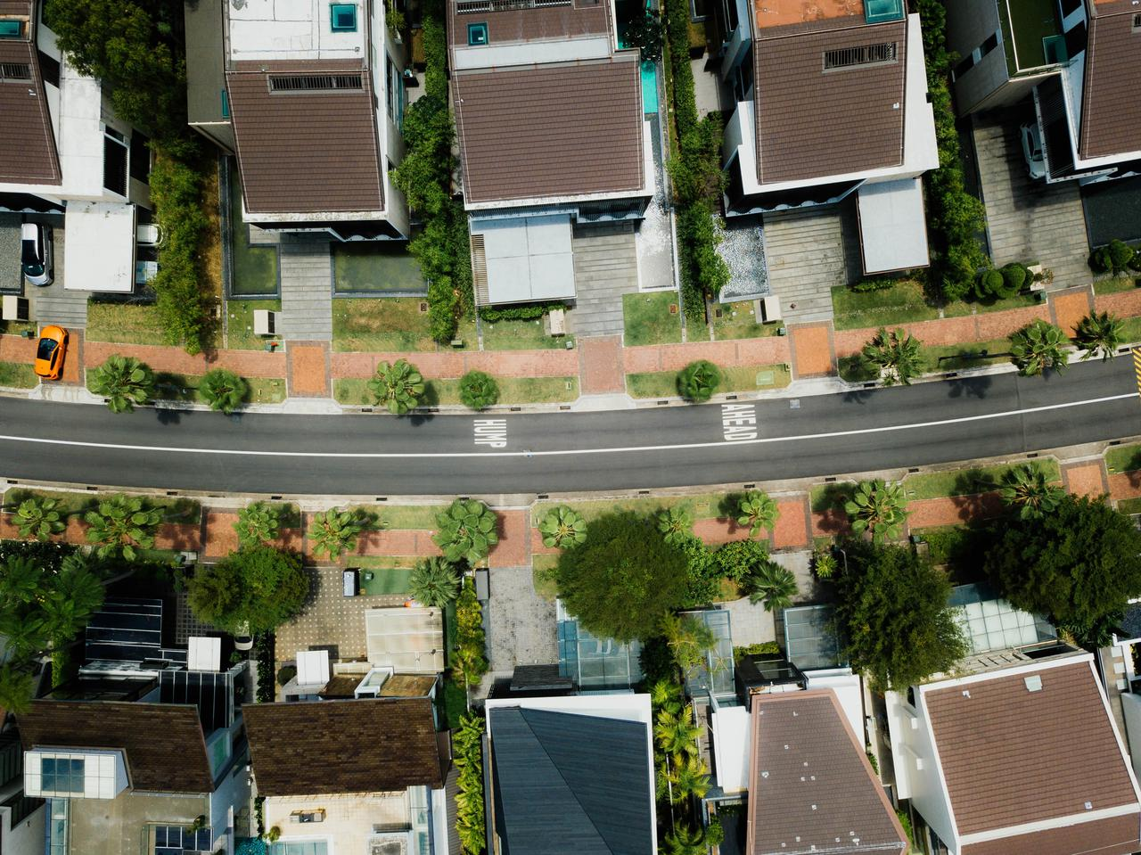 overhead view of row homes and street