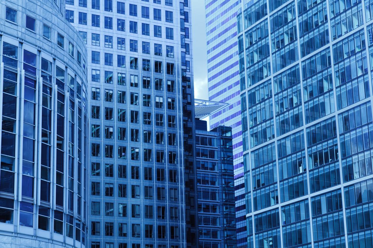 city blue building construction