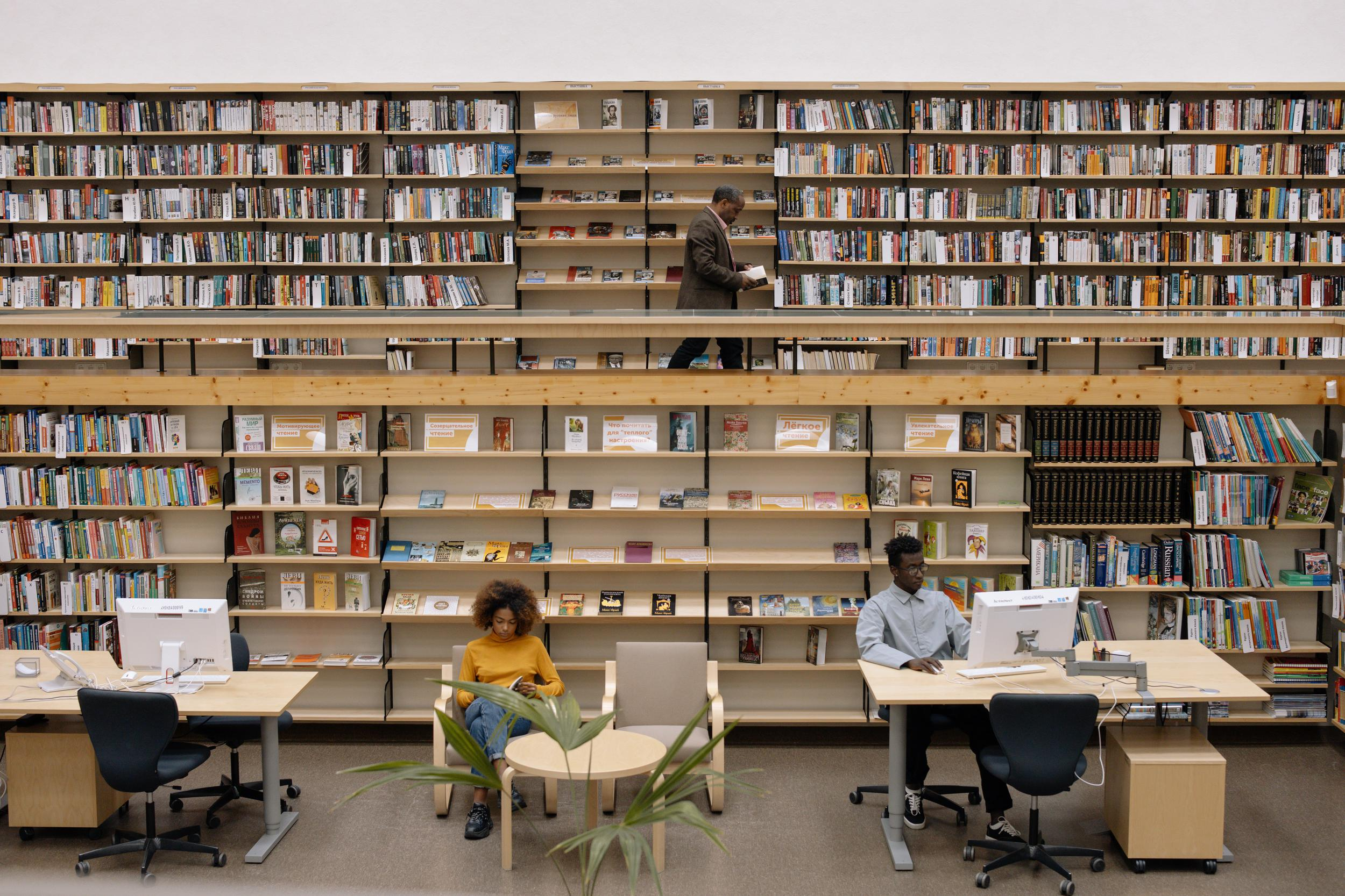 people working in a library