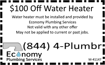 $100 off water heater with Economy Plumbing Services
