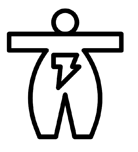 Image of an icon of an obsese person with a lightning bolt showing advantages of deep learning AI healthcare products.