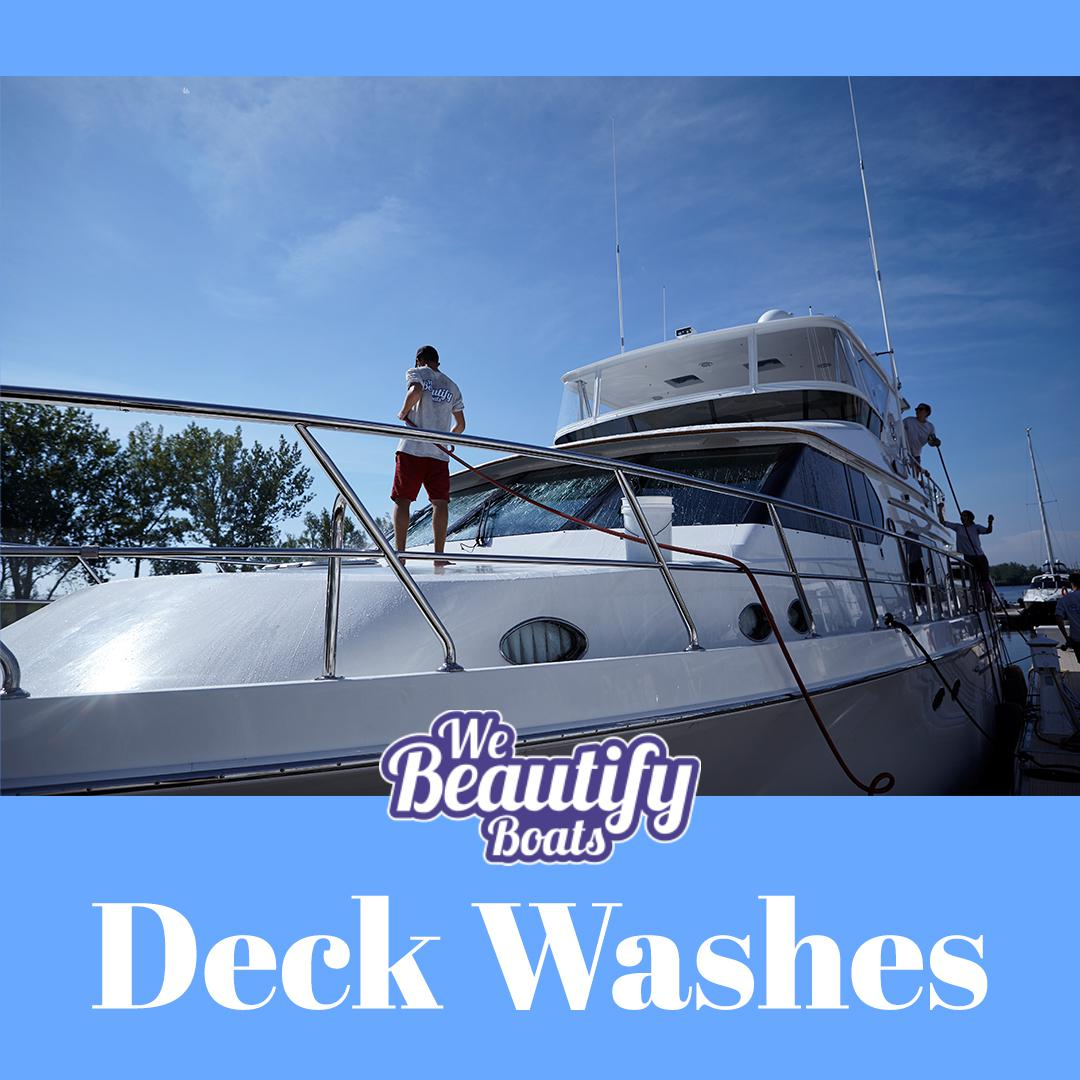 Three guys deck washing motor boat in a sunny day with we beautify boat logo and word deck washes.