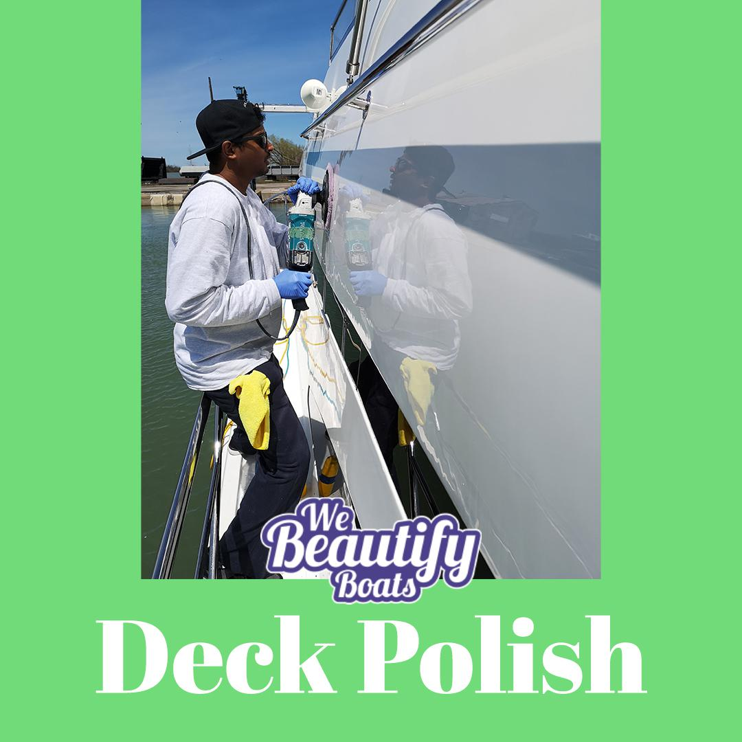 a guy polishing a deck on a motor boat with we beatify boats logo and a word deck polish