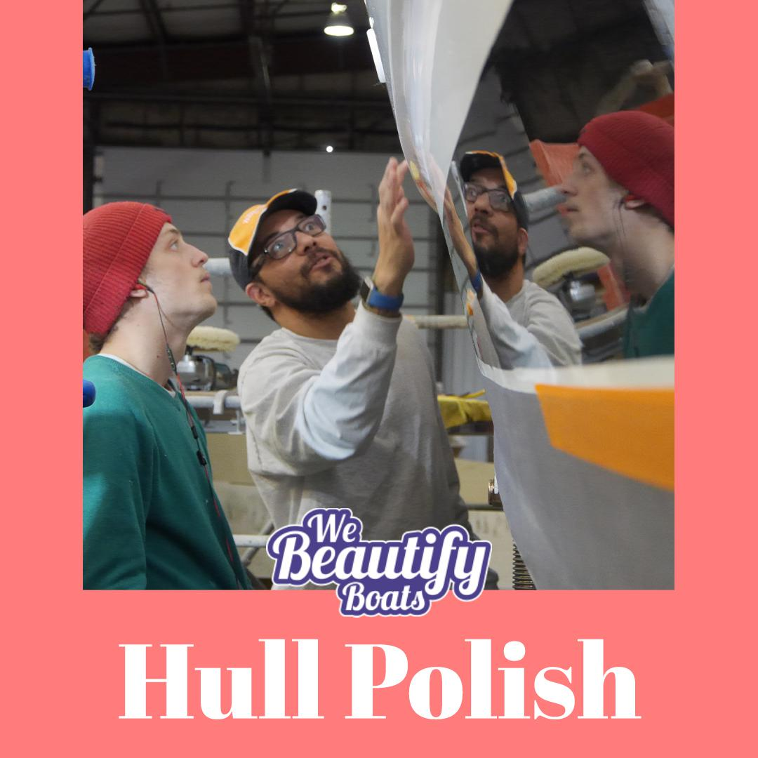 Two guys checking the boat hull with we beautify boats logo and a word hull polish