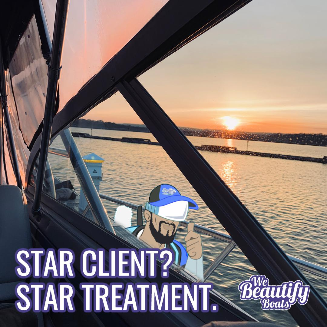 star client_ spike Style thumbs up through boat window at sunset with we beautify boats logo