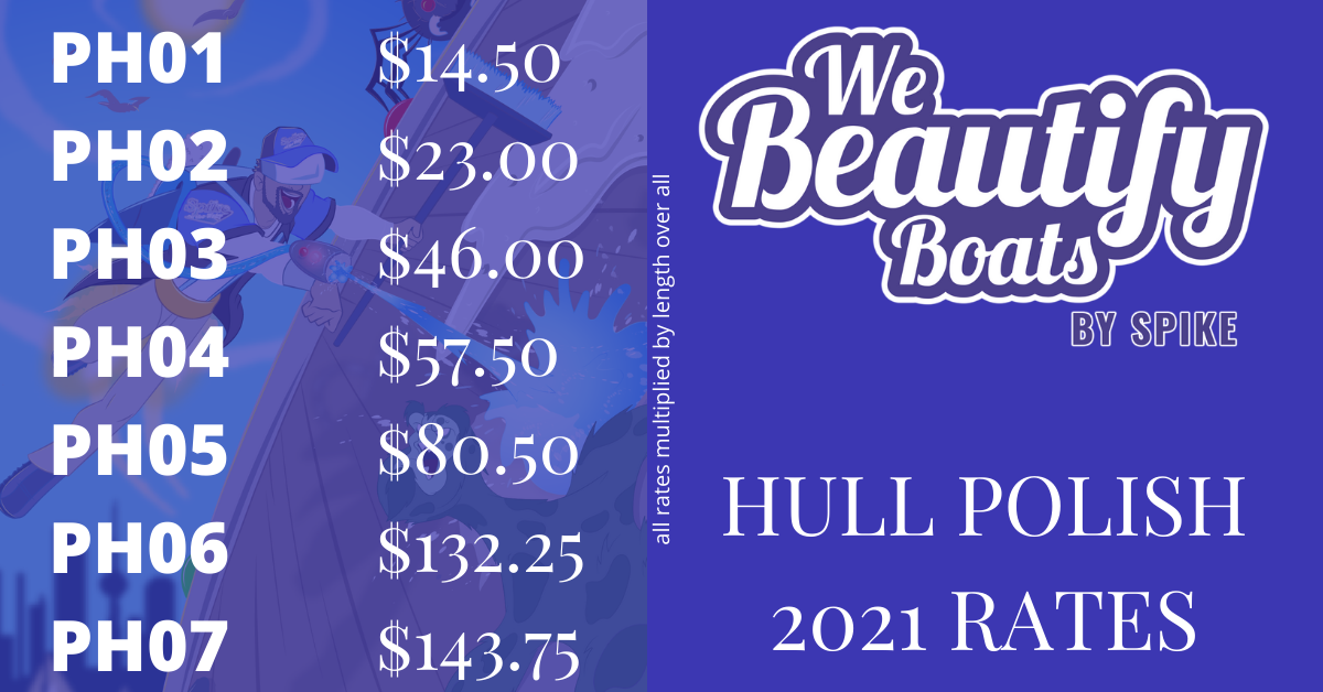 Hull Polish Rates 2021 from We Beautify Boats - Toronto<br/><br/>PH01 - $14.50PH02 - $23.00PH03 - $46.00PH04 - $57.50PH05 - $80.50PH06 - $132.25PH07 - $143.75<br/>