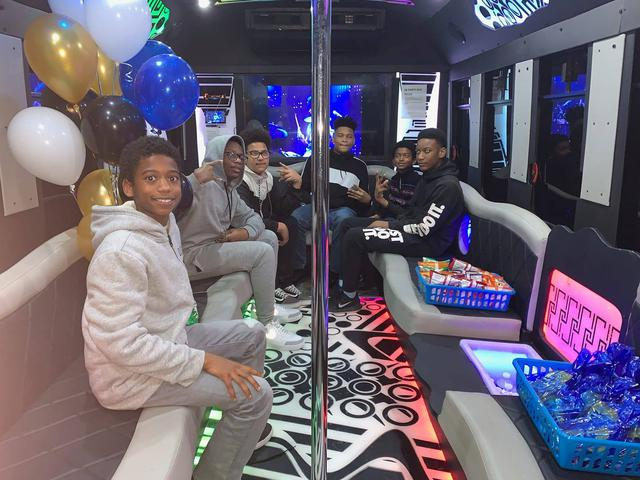 A party bus birthday party in action