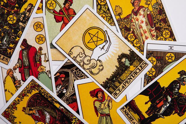 Tarot cards arranged by professional tarot card reader.