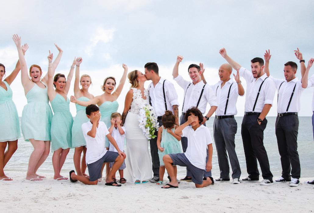whole family on beach