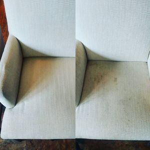 Before and after picture on couch cleaning