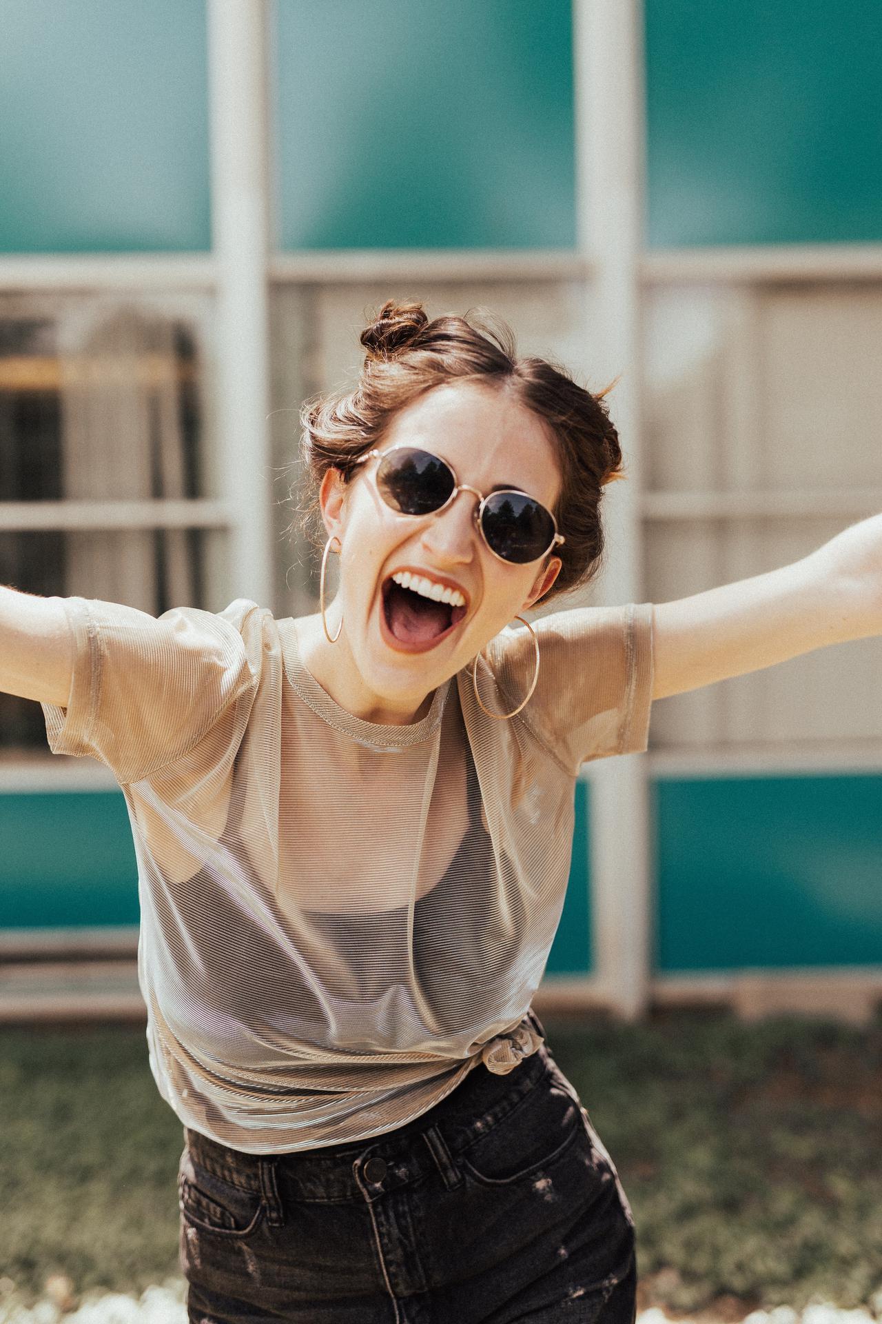 Girl enjoying her prescription sunglasses