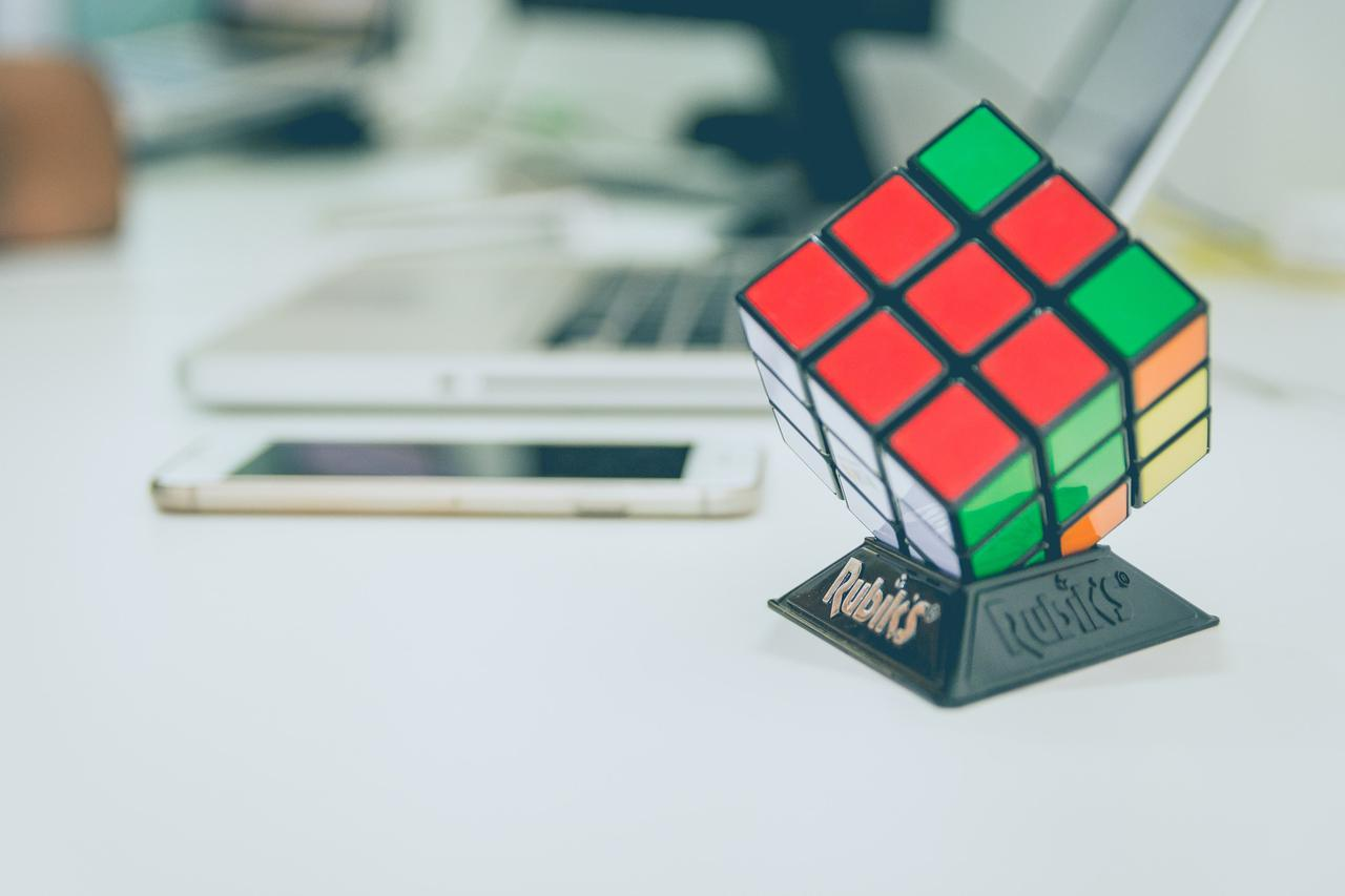 3X3 Rubik's cube on top of desk