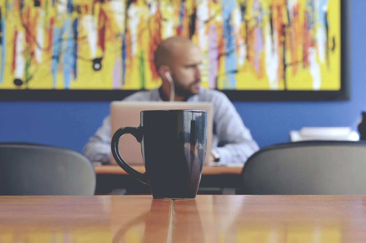 black mug on table