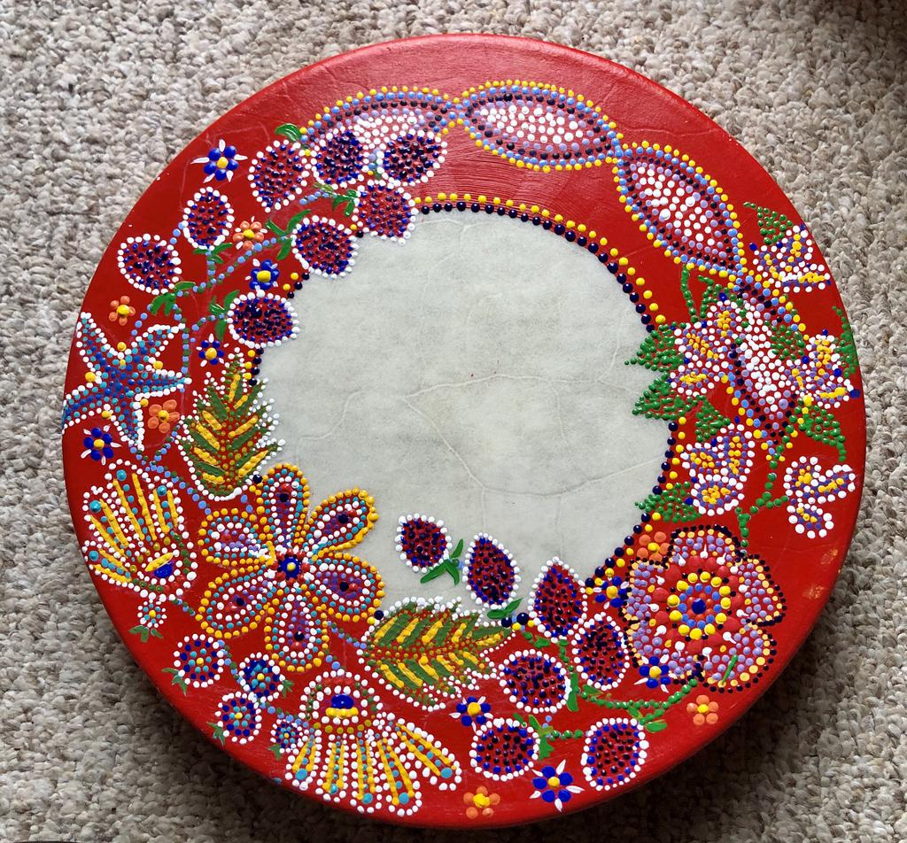 This is an image of a métis healing drum in Salt Spring Island, BC.