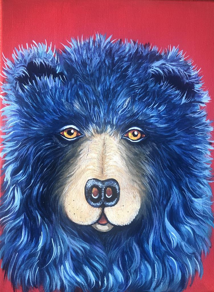This is a photo of an acrylic fine art painting of a bear.
