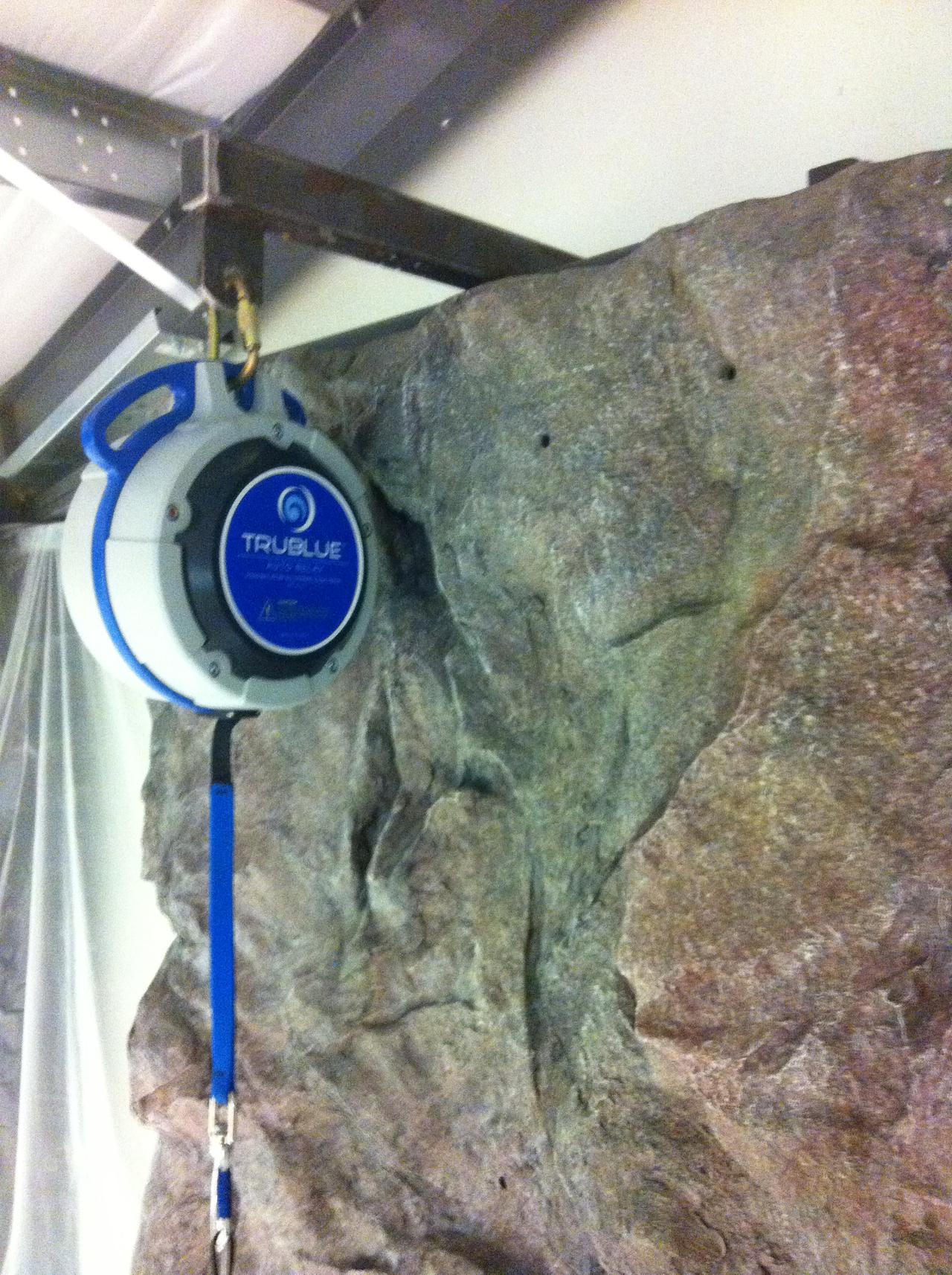 trueblue autobelay on natural rock wall