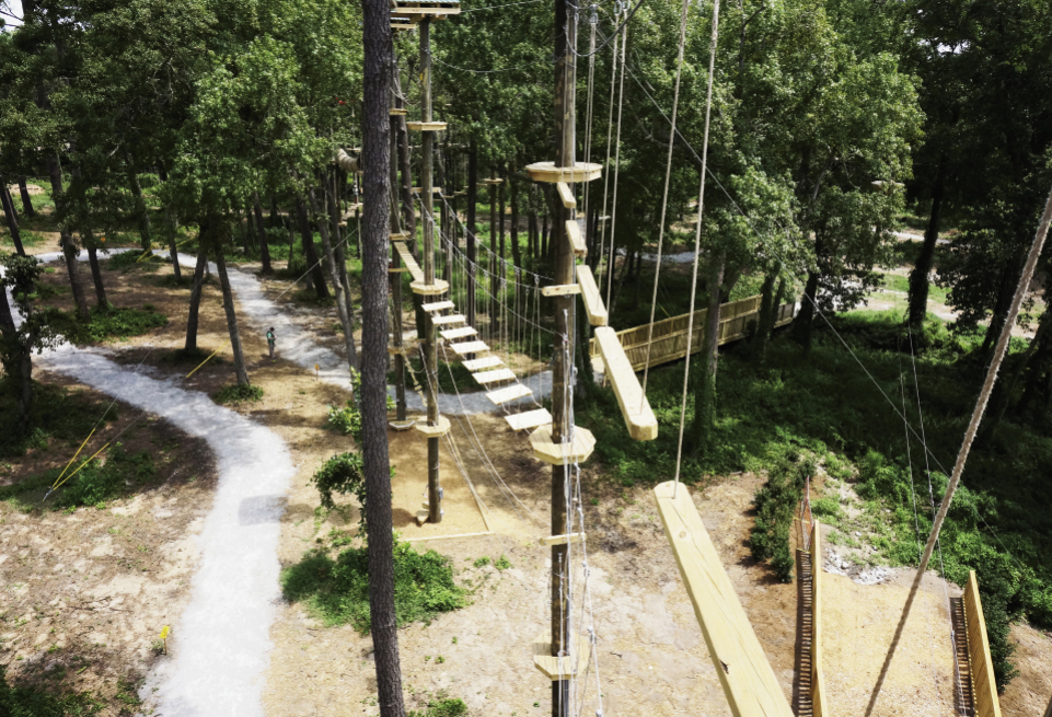 Aerial view of adventure park
