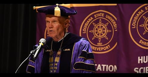 LSUS Chancellor Larry Clark delivered a virtual commencement address after the Covid-19 pandemic forced the university to postpone graduation this spring.