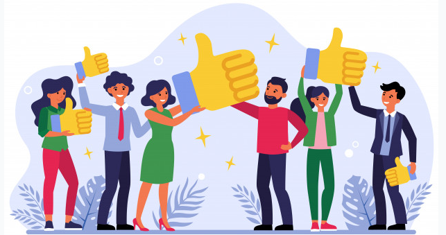 A cartoon rendering of a group of people holding literal 'thumbs-up' signs. Instant customer feedback will make your clientbase reflect this in the highest possible fidelity.